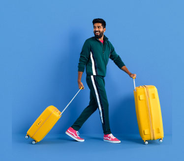 Person walking with luggage